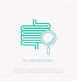 guts with magnifier thin line icon vector image