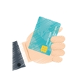 hand draw business holding credit card bank color vector image vector image