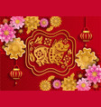 happy chinese new year 2019 of pig poster from vector image vector image