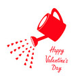 happy valentines day sign symbol red watering can vector image vector image