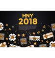 holiday new year card - 2018 black and gold 4 vector image vector image