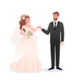just married happy man woman characters standing vector image