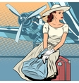 Lady traveler at the airport vector image vector image