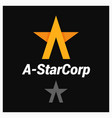 letter a logo a-shaped star on black background vector image