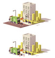 low poly building icon vector image