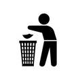 man throwing trash silhouette vector image