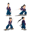 old japan samurai cartoon character vector image vector image