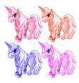 pink and blue unicorns in cartoon style vector image vector image