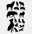 pitbull dog and wolf animal silhouettes vector image
