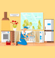plumber changing filter in kitchen vector image