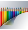 Rainbow colored pencils and realistic white paper vector image vector image