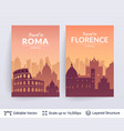 roma and florence famous city scapes vector image