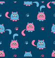 seamless pattern with cute pink and black cats and vector image vector image