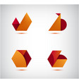 set abstract 3d origami logos icons vector image vector image