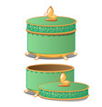 set of closed and opened round ornate gift boxes vector image vector image