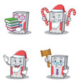 set of computer character with book santa candy vector image vector image
