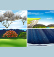 set of nature landscape scene vector image vector image