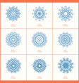 set of nine blue color oriental flower mandala vector image