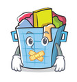 silent laundry basket character cartoon vector image