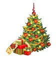 sketch with brightly decorated christmas tree vector image vector image