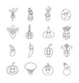 smiling vegetables icons set outline style vector image vector image