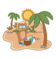 summer vacation relax cartoon vector image