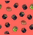 sushi flat outline isomeric pattern vector image vector image
