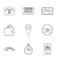 Taxi order icons set outline style vector image vector image