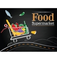 Trolley full of delicious food driving on the road vector image vector image