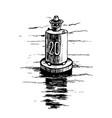 warning buoy at the river banks vector image vector image