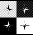 wind rose icon isolated on black white and vector image