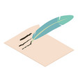 write feather icon isometric 3d style vector image vector image
