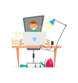 Young boy working on laptop computer concept vector image