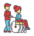 young man strolling with young woman in wheelchair vector image vector image
