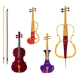 Set of different violins and cello with bows on vector image