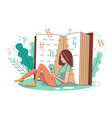 a girl is reading a book in her hands vector image