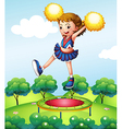 A trampoline below a young cheerdancer vector image vector image