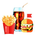 burger and soda and fry french vector image vector image