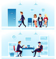 businessmen diverse employees waiting interview vector image