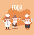 cartoon chefs cooking and holding tray food vector image