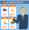 cartoon tv weather forecast concept vector image vector image