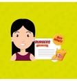 child cartoon girl fast food vector image vector image