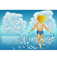 child runs into the water vector image vector image