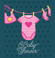 clothes for little girl hanging baby shower card vector image vector image