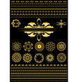 Collection of gold border on black background vector image vector image