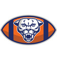 Cougar Mountain Lion Football Ball Retro vector image vector image