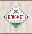 cricket club patch or sticker concept vector image