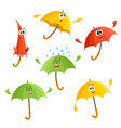 cute funny umbrella characters with human face vector image vector image