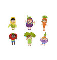 cute little kids dressed as vegetables set corn vector image vector image