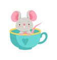 cute mouse sitting in a ceramic cup funny animal vector image vector image